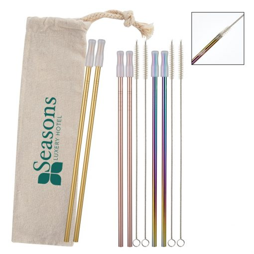 2- Pack Park Avenue Stainless Straw Kit with Cotton Pouch
