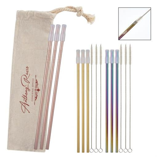 3- Pack Park Avenue Stainless Straw Kit with Cotton Pouch