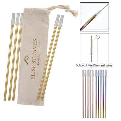 5- Pack Park Avenue Stainless Straw Kit with Cotton Pouch