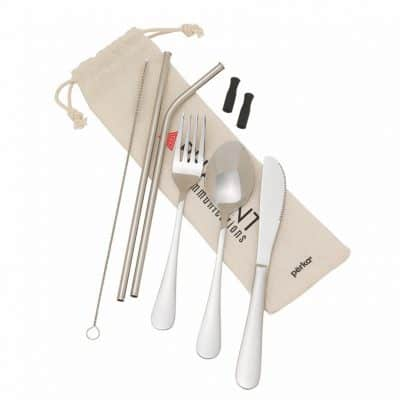 Perka Castellana 6-Piece Steel Straw & Utensil Set