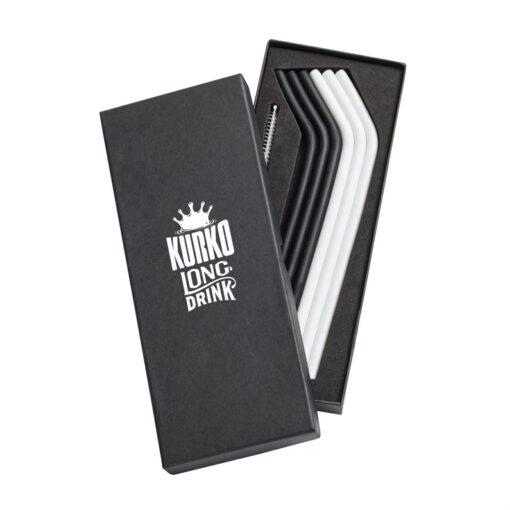 The Savor 6pc Silicone Straw Set - Black/White
